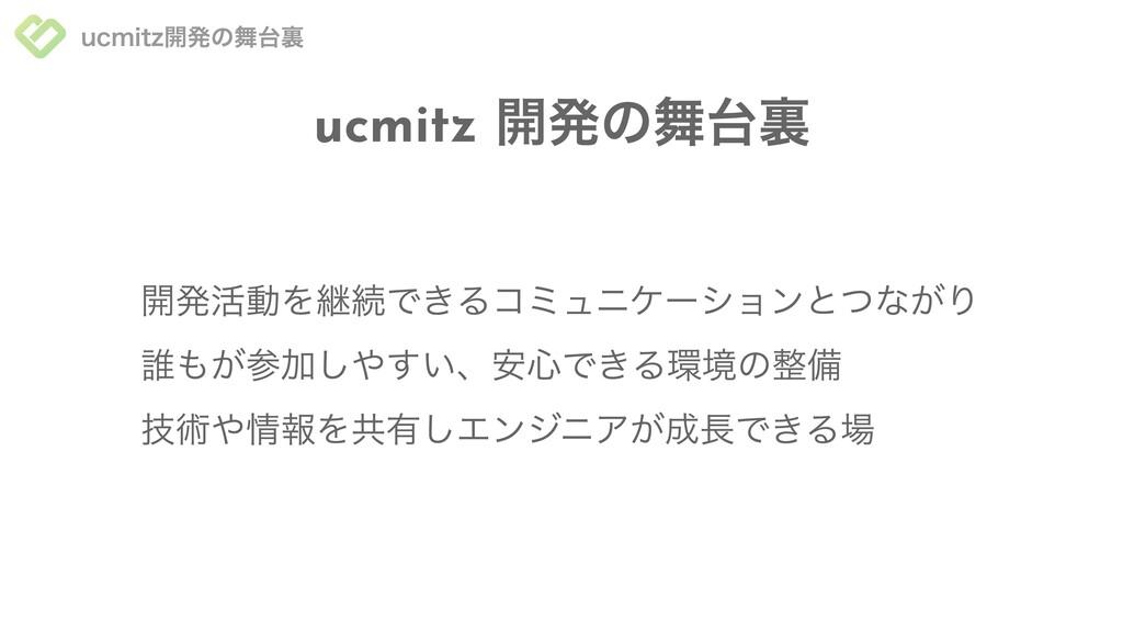 ucmitz開発の舞台裏 ucmitz 開発の舞台裏 技術や情報を共有しエンジニアが成⻑できる...