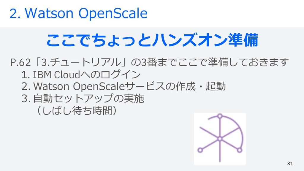 2. Watson OpenScale ここでちょっとハンズオン準備 31 P.62「3.チュ...