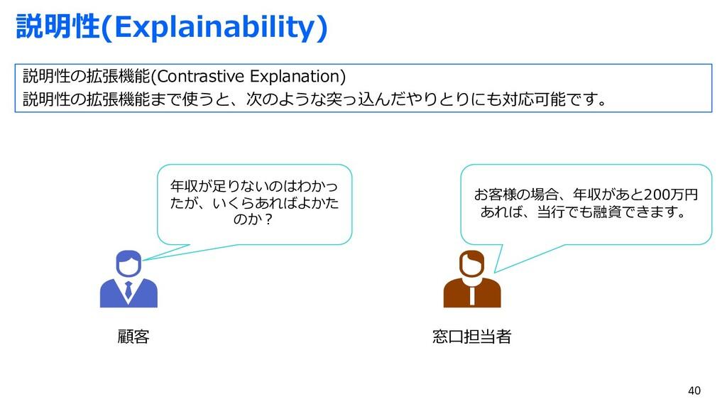 説明性(Explainability) 顧客 窓⼝担当者 年収が⾜りないのはわかっ たが、いく...