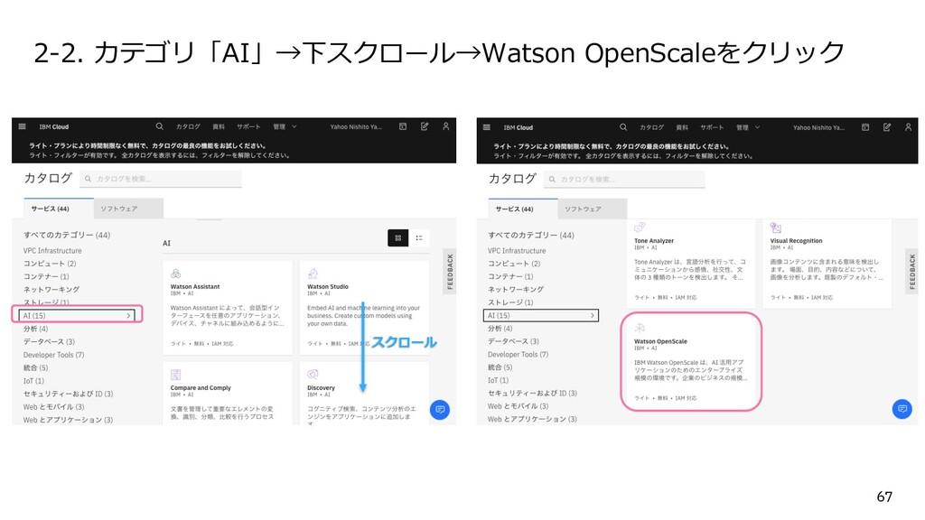 2-2. カテゴリ「AI」→下スクロール→Watson OpenScaleをクリック スクロー...