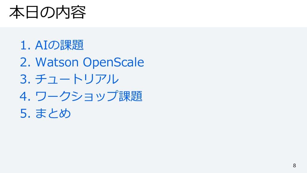 本⽇の内容 1. AIの課題 2. Watson OpenScale 3. チュートリアル 4...