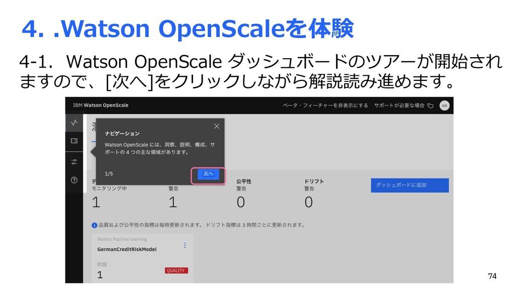 4. .Watson OpenScaleを体験 4-1. Watson OpenScale ダ...