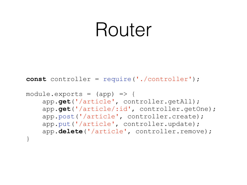 Router const controller = require('./controller...