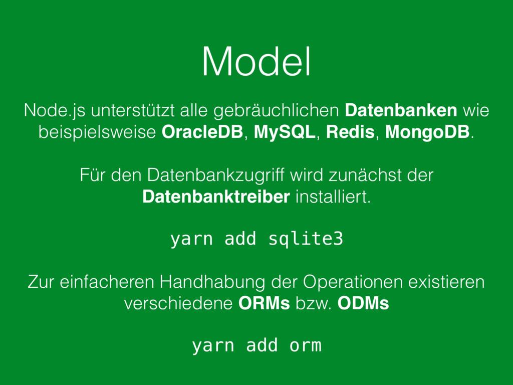 Model Node.js unterstützt alle gebräuchlichen D...