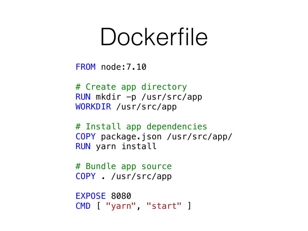 Dockerfile FROM node:7.10 # Create app directory...