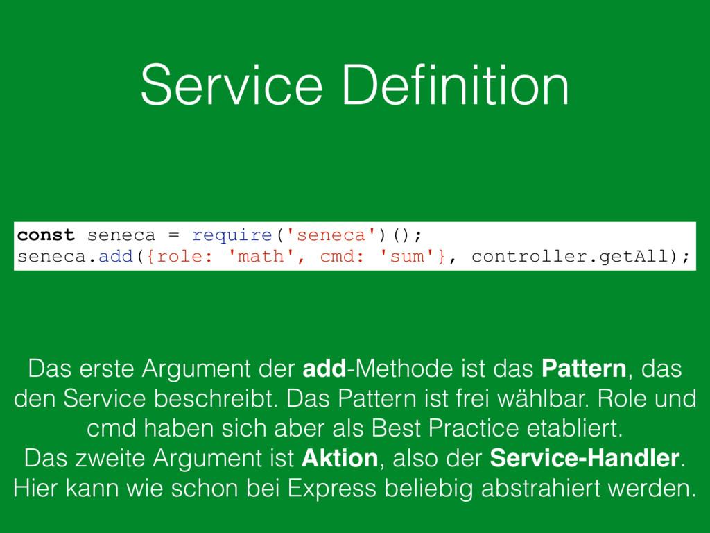 Service Definition const seneca = require('senec...