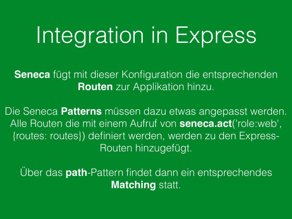 Integration in Express Seneca fügt mit dieser K...