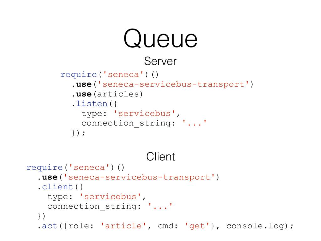 Queue require('seneca')() .use('seneca-serviceb...