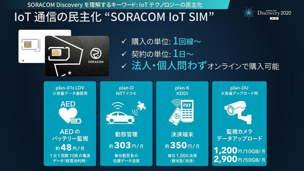 "IoT 通信の民主化 ""SORACOM IoT SIM"" ✓ 購入の単位: 1回線~ ✓ 契約..."