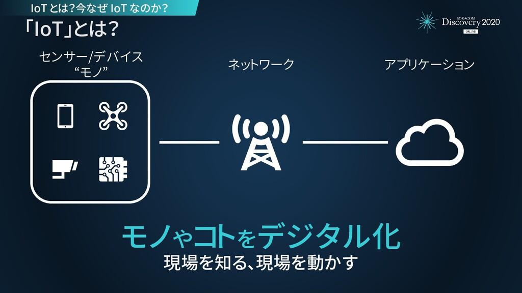 """アプリケーション ネットワーク センサー/デバイス """"モノ"""" 「IoT」とは? モノやコトをデ..."""