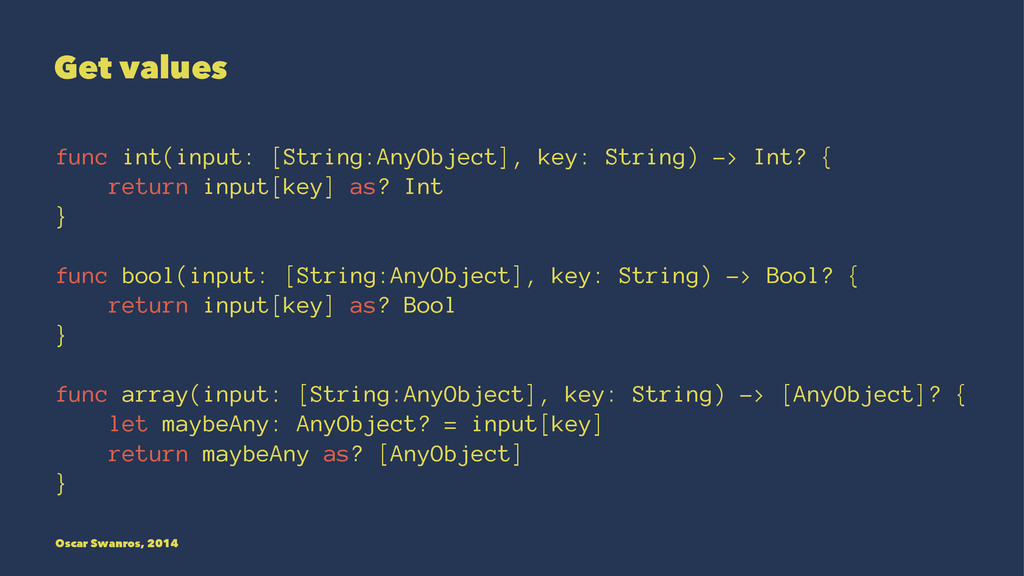 Get values func int(input: [String:AnyObject], ...