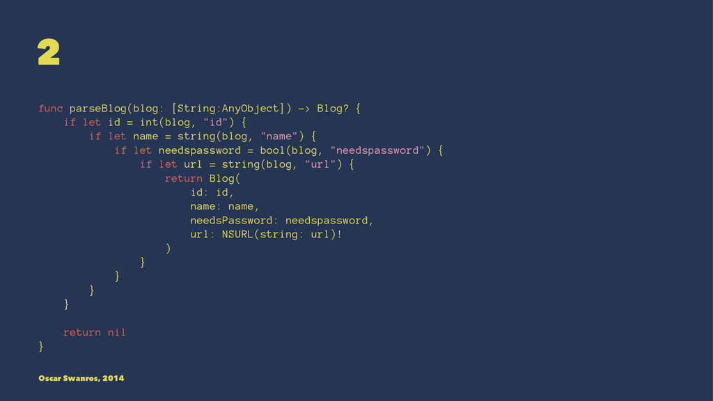 2 func parseBlog(blog: [String:AnyObject]) -> B...