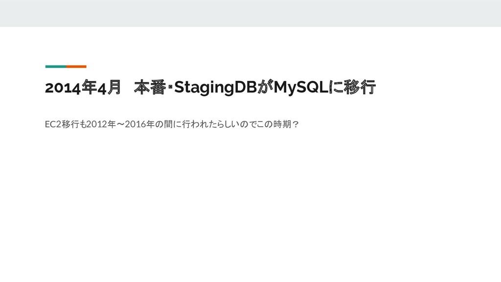 2014年4月 本番・StagingDBがMySQLに移行 EC2移行も2012年~2016年...