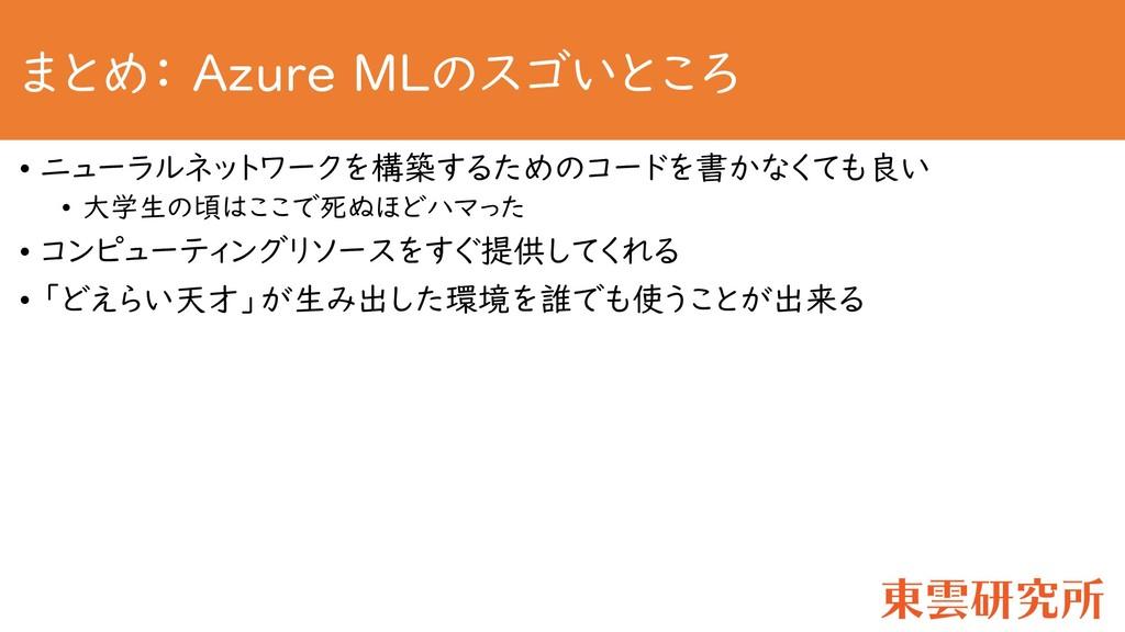 まとめ: Azure MLのスゴいところ • ニューラルネットワークを構築するためのコードを書...