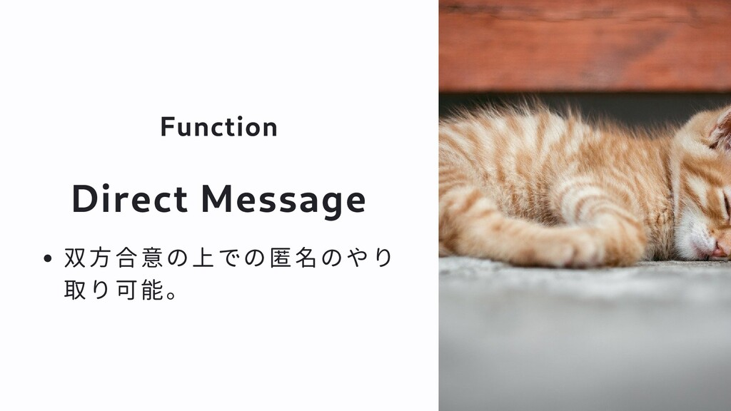Function Direct Message 双方合意の上での匿名のやり 取り可能。