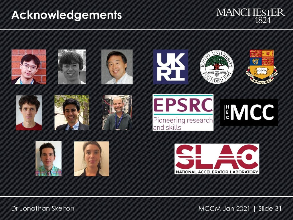 Acknowledgements Dr Jonathan Skelton MCCM Jan 2...