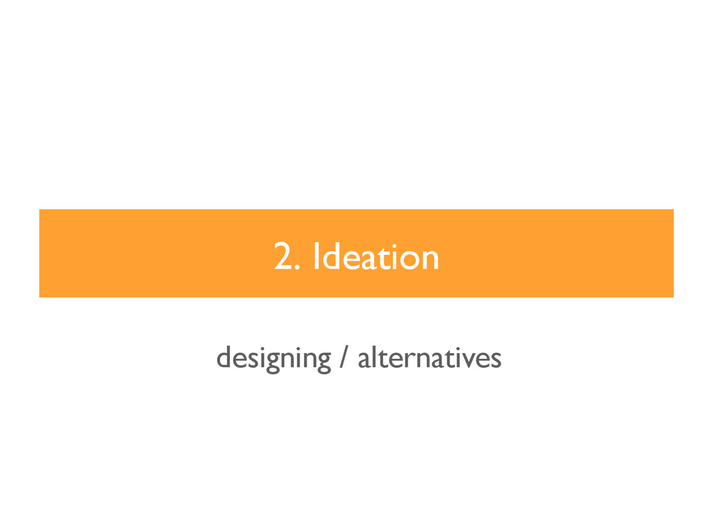 2. Ideation designing / alternatives