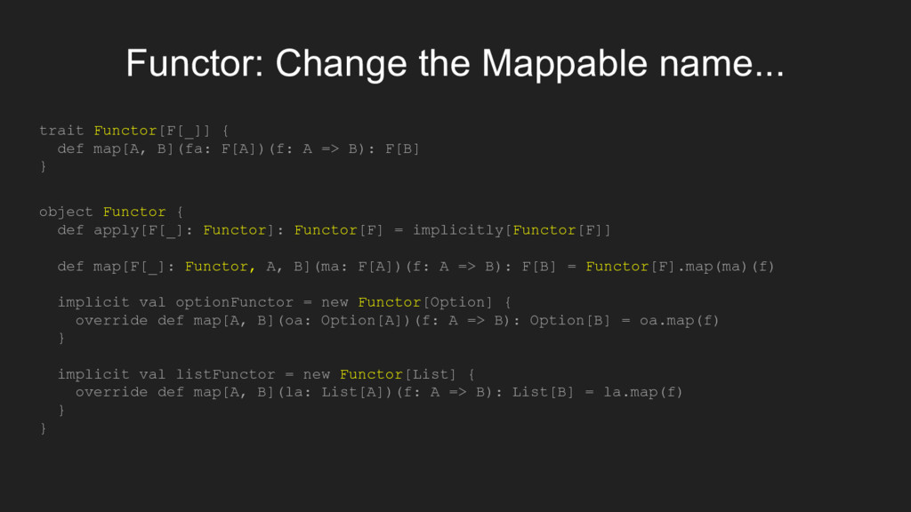 Functor: Change the Mappable name... trait Func...