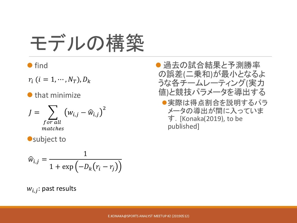 モデルの構築  find  that minimize subject to E.KON...