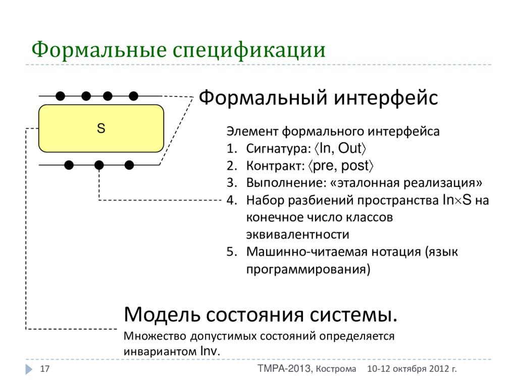 Формальные спецификации 10-12 октября 2012 г. T...