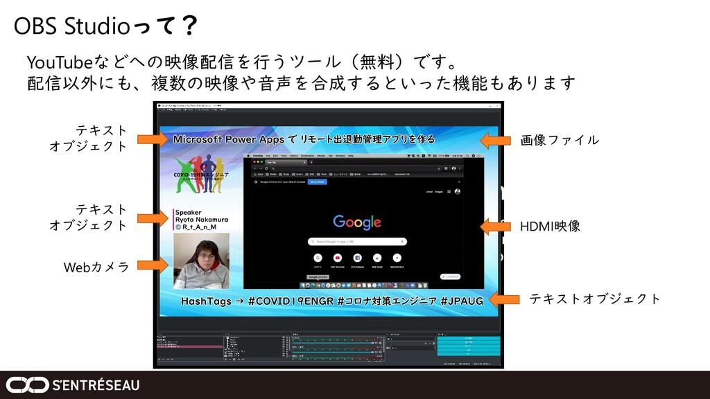 OBS Studioって? YouTubeなどへの映像配信を行うツール(無料)です。 配信以外...