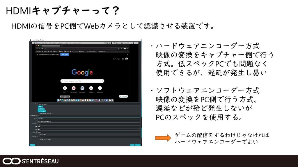 HDMIキャプチャーって? HDMIの信号をPC側でWebカメラとして認識させる装置です。 ・...