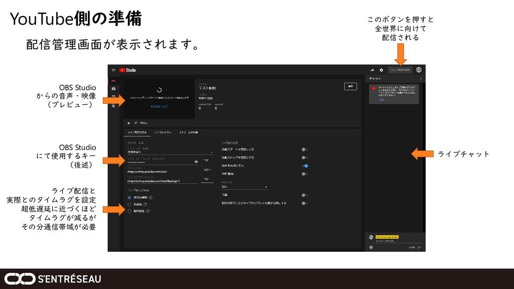 YouTube側の準備 配信管理画面が表示されます。 OBS Studio からの音声・映像 ...