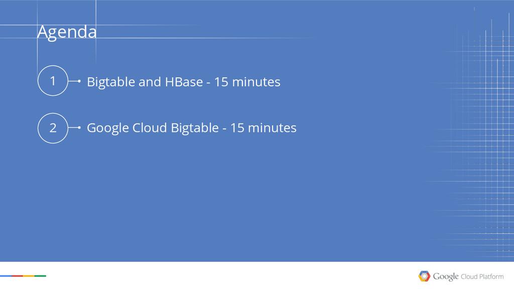 Agenda 1 2 Bigtable and HBase - 15 minutes Goog...