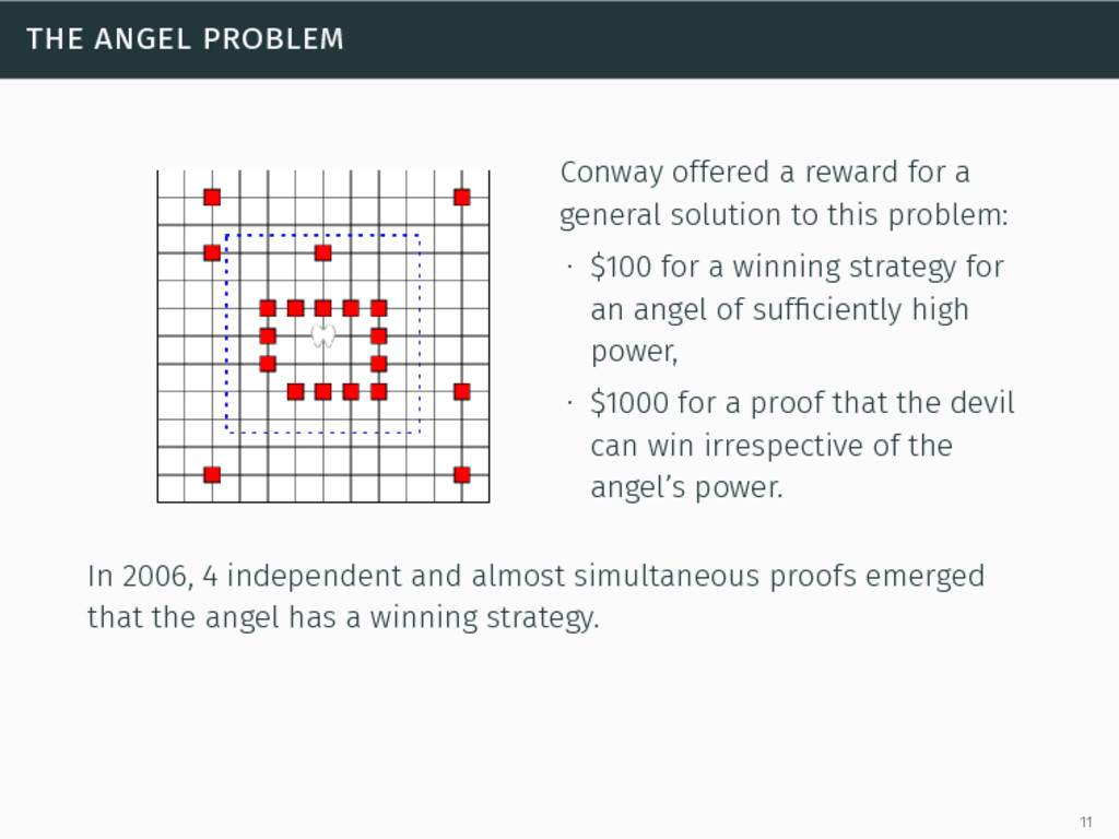 the angel problem Conway offered a reward for a...