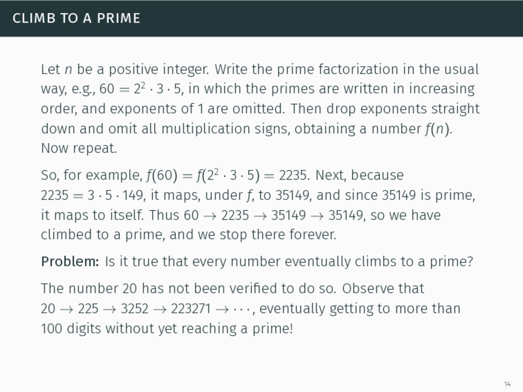 climb to a prime Let n be a positive integer. W...