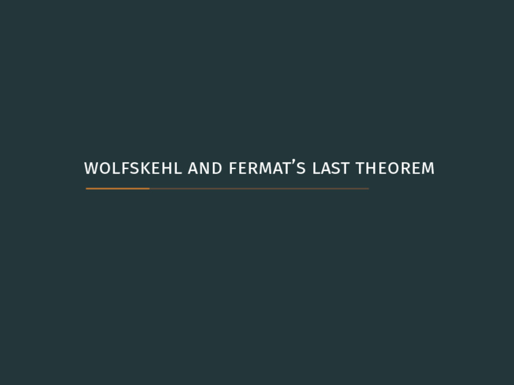 wolfskehl and fermat's last theorem