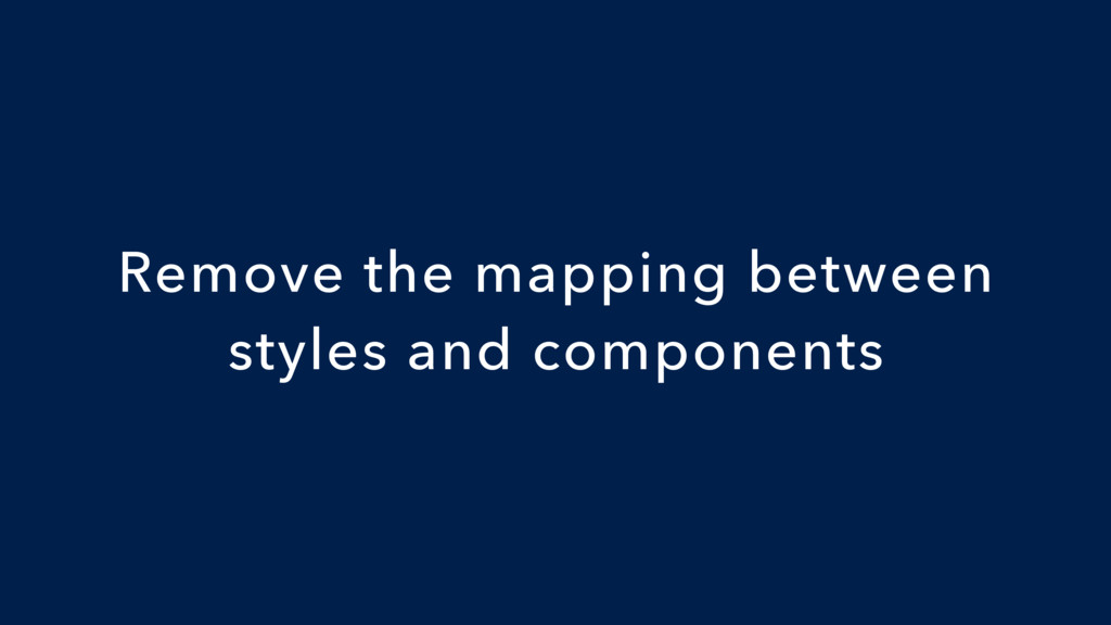 Remove the mapping between styles and components