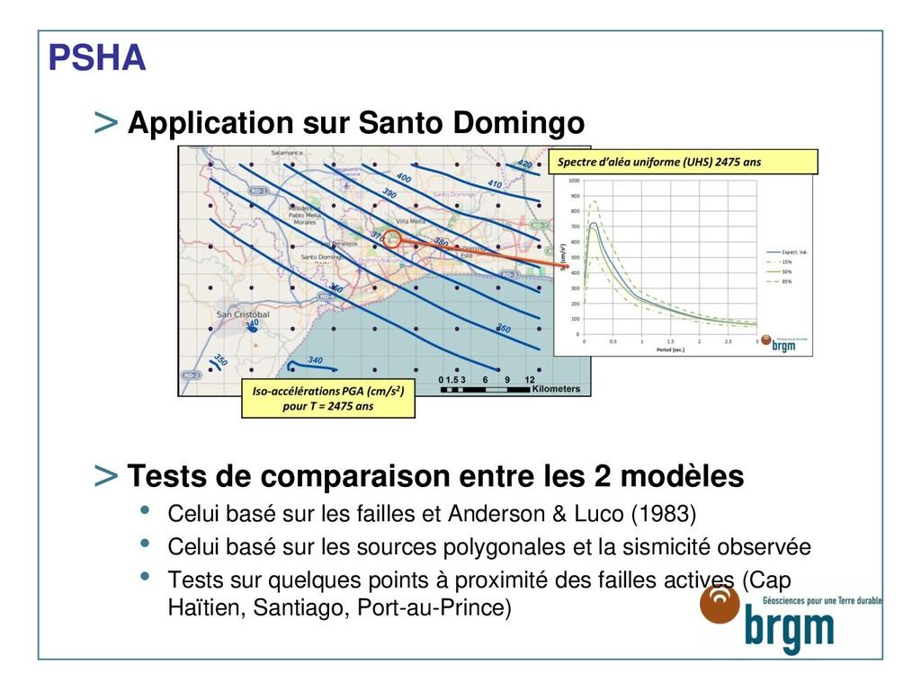 PSHA > Application sur Santo Domingo > Tests de...
