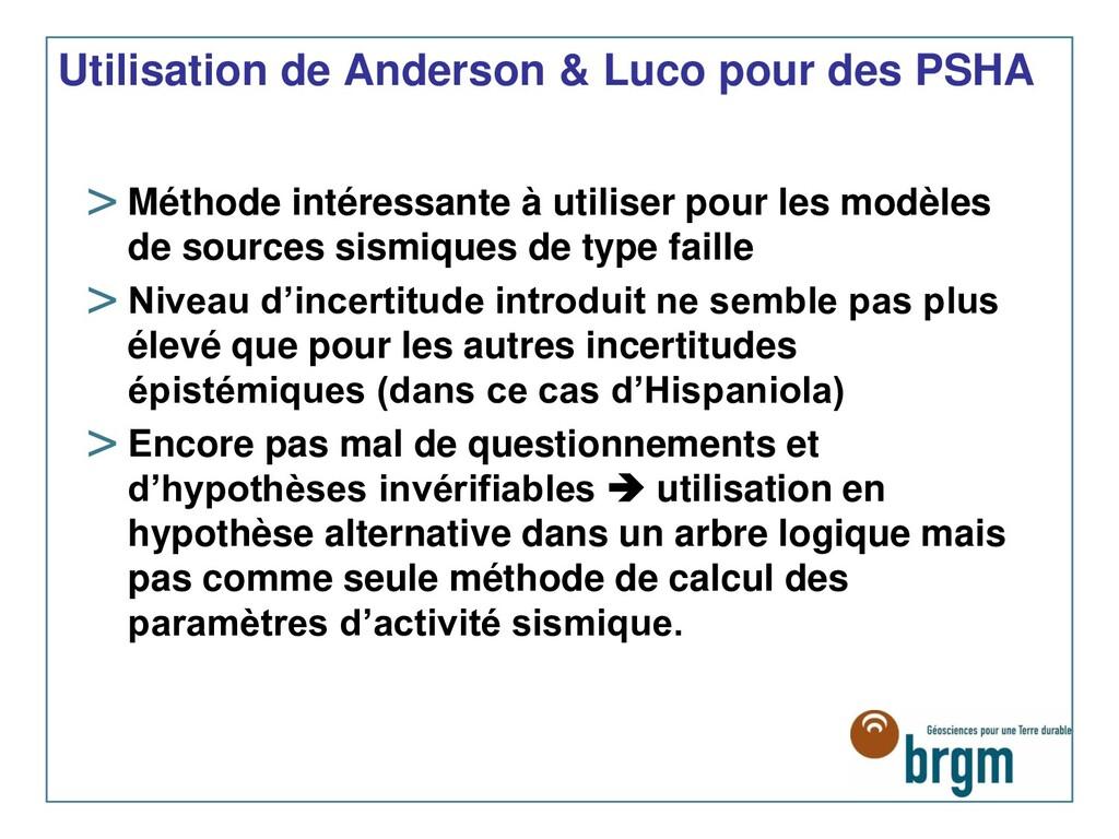 Utilisation de Anderson & Luco pour des PSHA > ...