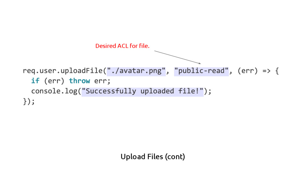 Upload Files (cont) Desired ACL for file.