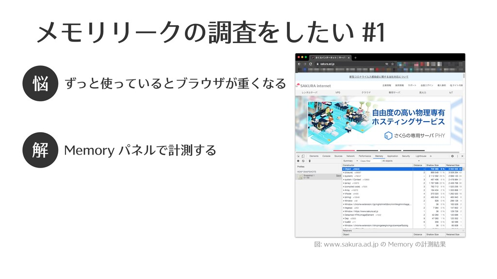 メモリリークの調査をしたい #1 図: www.sakura.ad.jp の Memory の...