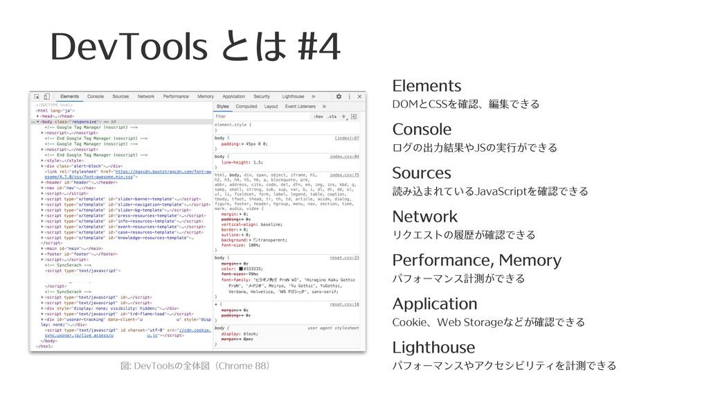 Elements DOMとCSSを確認、編集できる Console ログの出⼒結果やJSの...