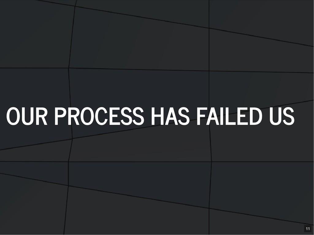 OUR PROCESS HAS FAILED US OUR PROCESS HAS FAILE...
