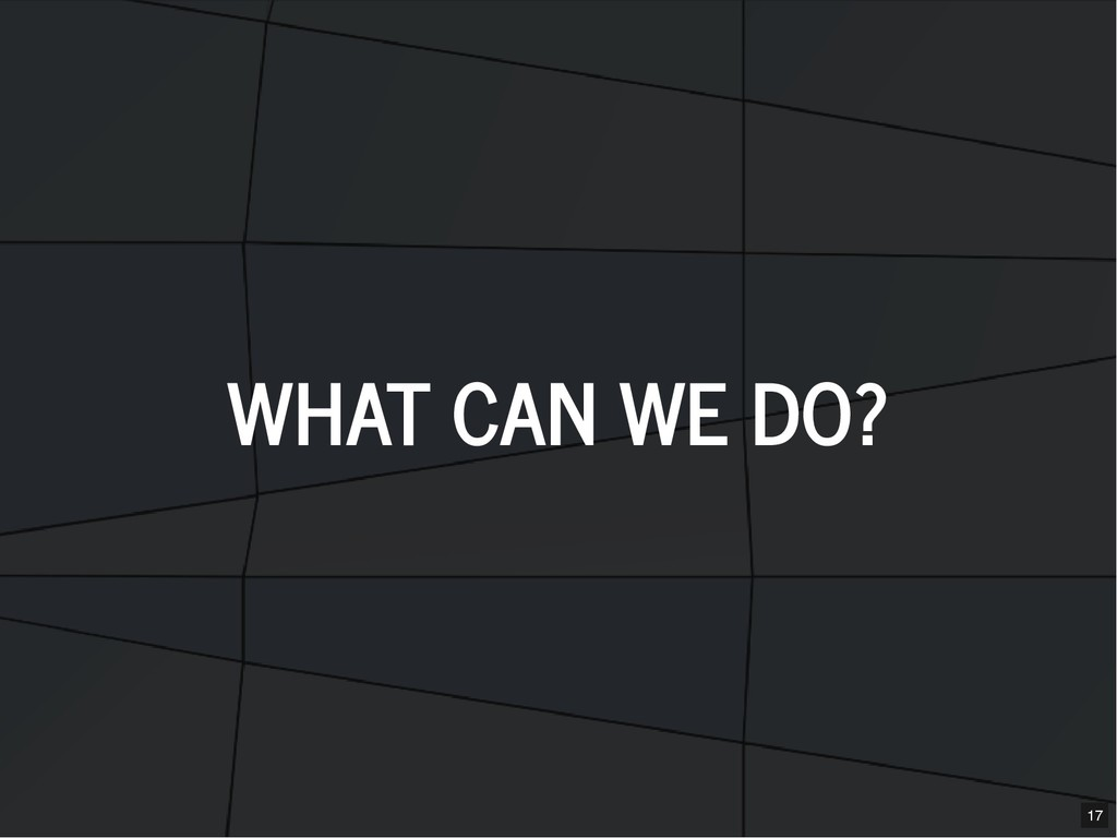 WHAT CAN WE DO? WHAT CAN WE DO? 17