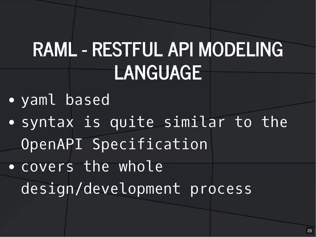 RAML - RESTFUL API MODELING RAML - RESTFUL API ...