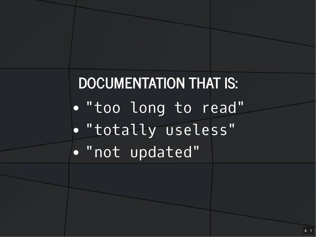 "DOCUMENTATION THAT IS: DOCUMENTATION THAT IS: ""..."