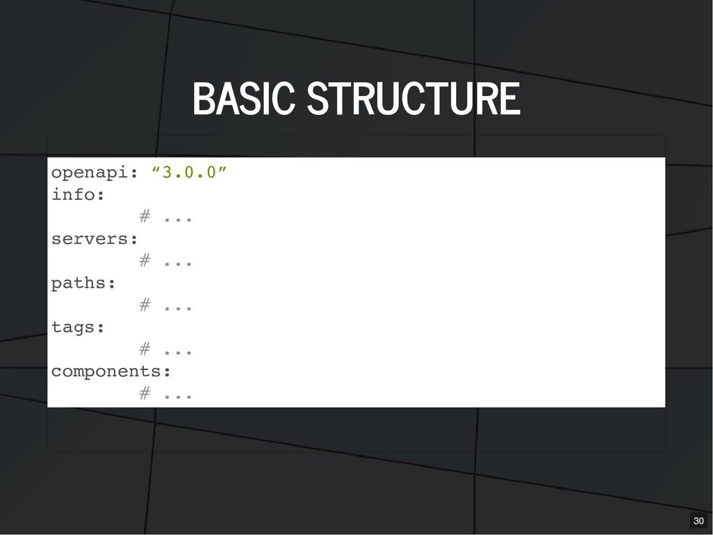 """BASIC STRUCTURE BASIC STRUCTURE openapi: """"3.0.0..."""