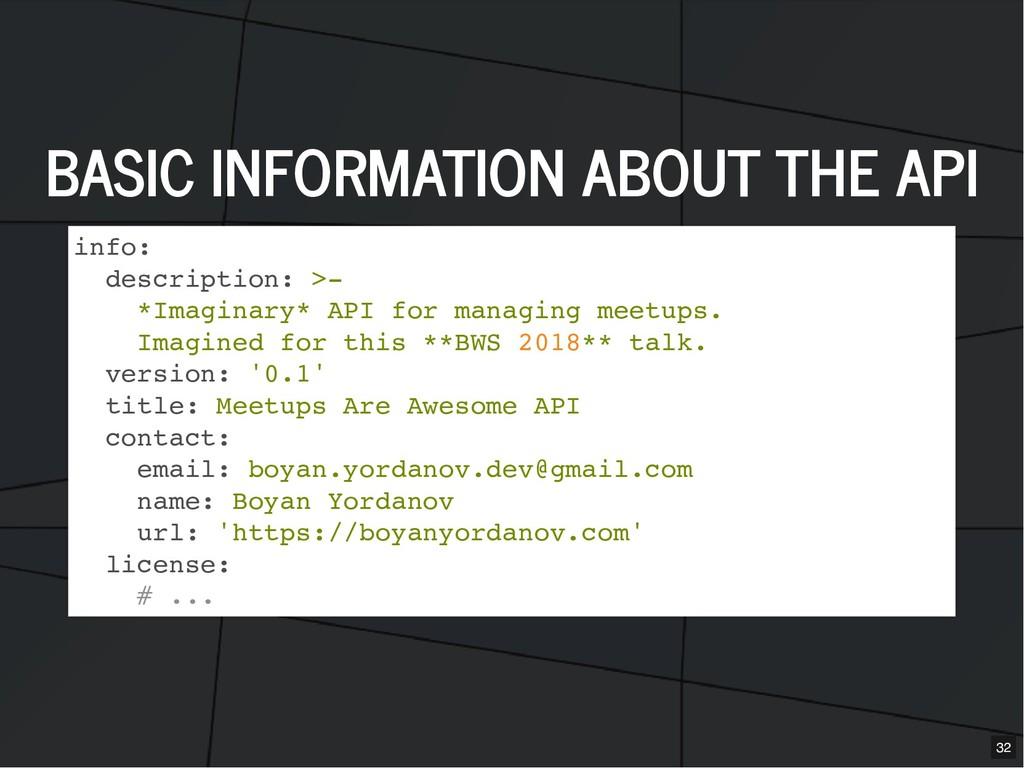 BASIC INFORMATION ABOUT THE API BASIC INFORMATI...