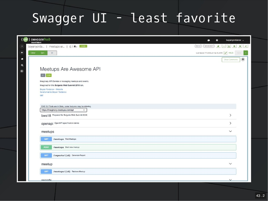 Swagger UI - least favorite 43 . 2
