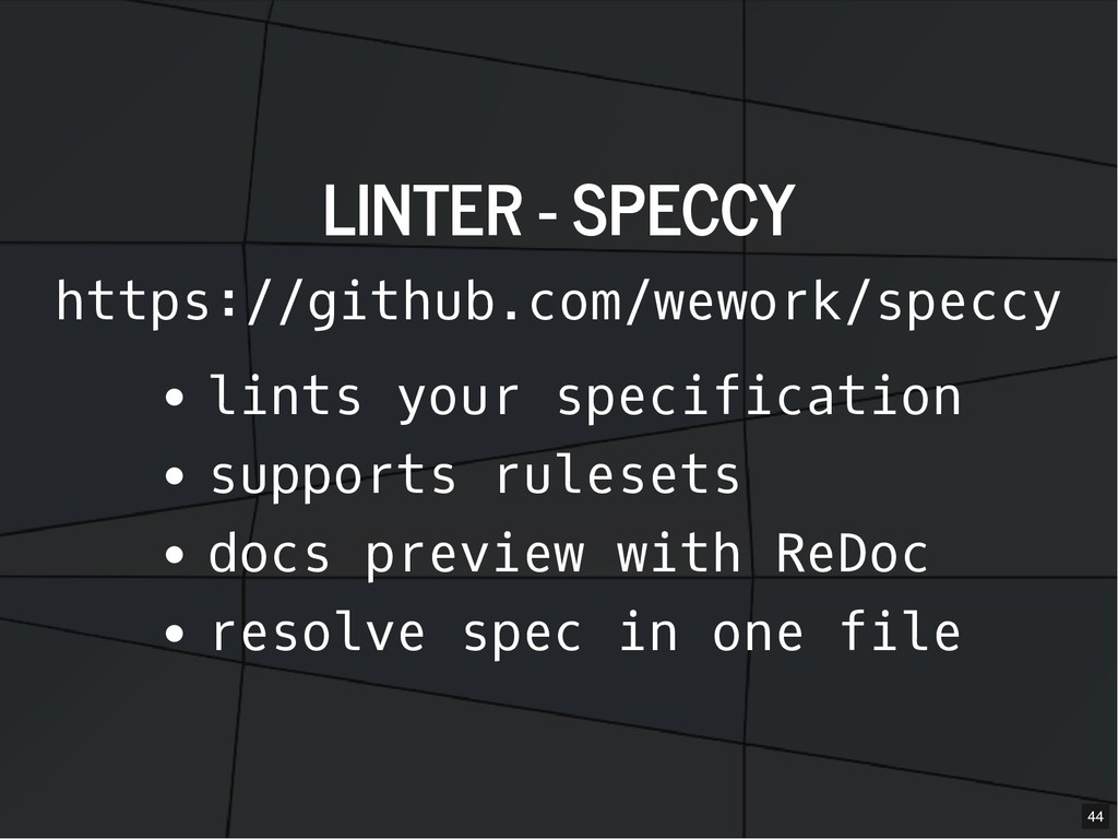 LINTER - SPECCY LINTER - SPECCY https://github....
