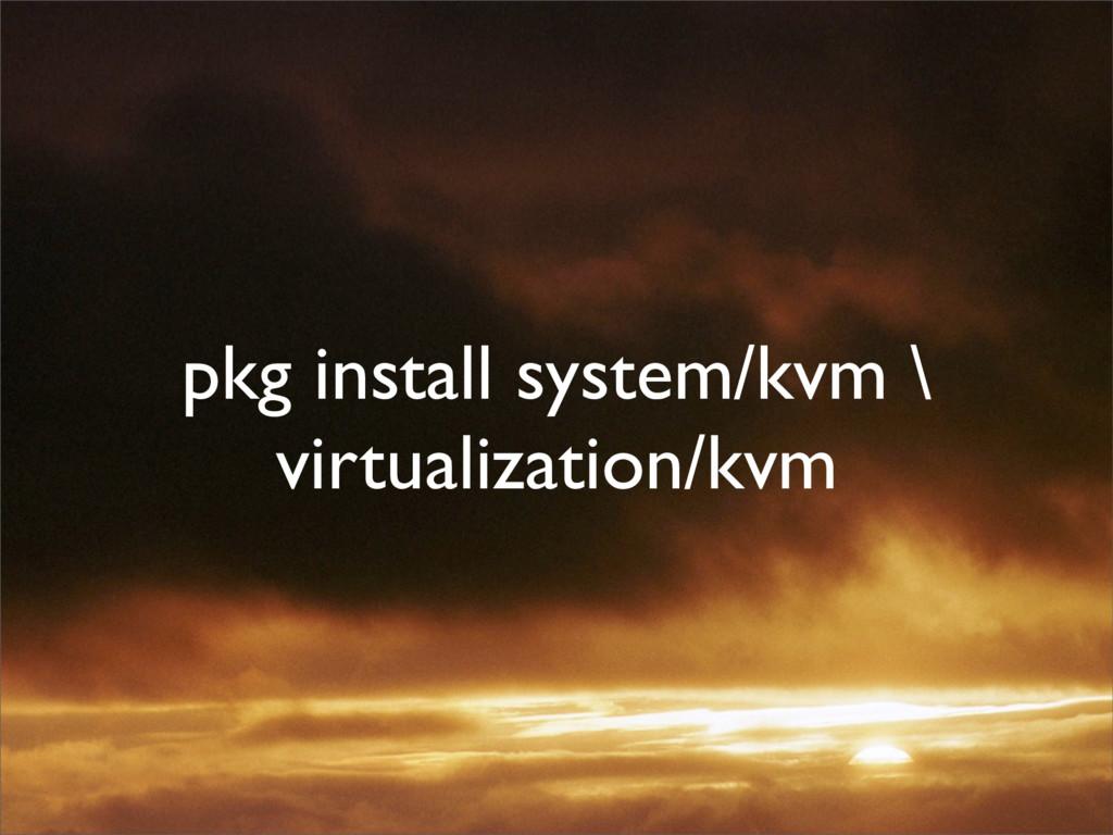 pkg install system/kvm \ virtualization/kvm