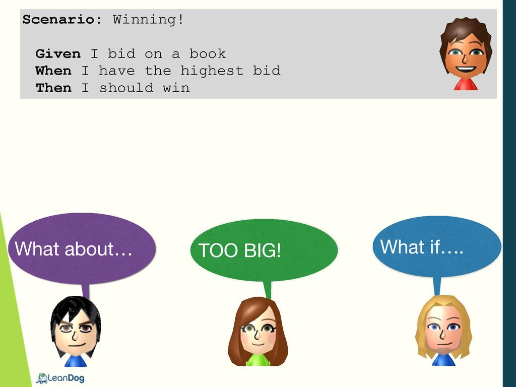 Scenario: Winning! Given I bid on a book When I...