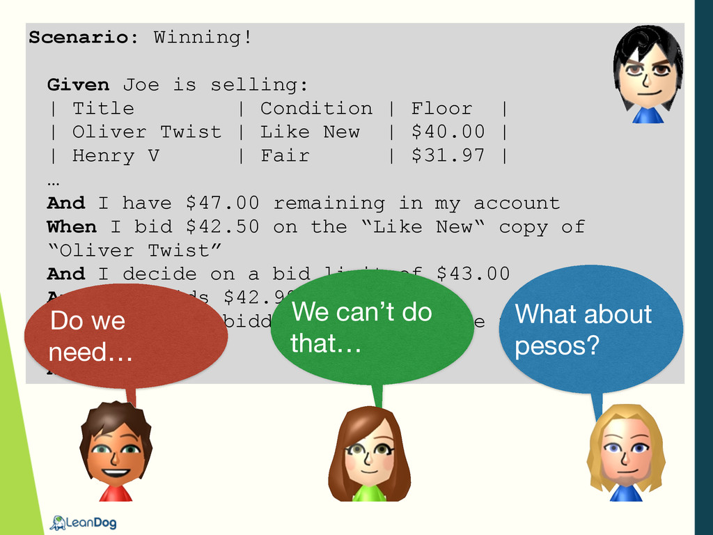 Scenario: Winning! Given Joe is selling: | Titl...