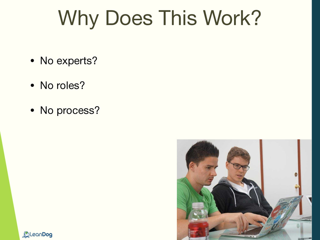 Why Does This Work? • No experts?  • No roles? ...