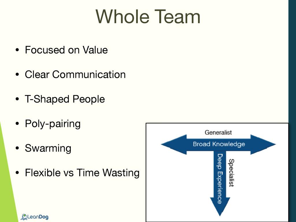 Whole Team • Focused on Value  • Clear Communic...